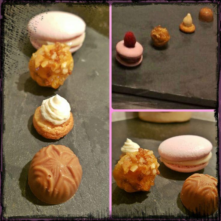 4 verschillende friandises! Macaron,soesjes gevuld met creme suisse van pure chocolade,bitterkoekjes met een botercreme van peer, en een bonbon van melkchocolade gevuld met sinaasappelbotercreme. (Eindopdracht van module 4, gemaakt op school)
