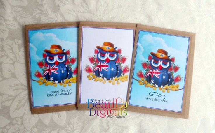 NEW! Greeting Card Aussie Owl Hand Drawn Owl Novelty Greeting Card - 3 pack