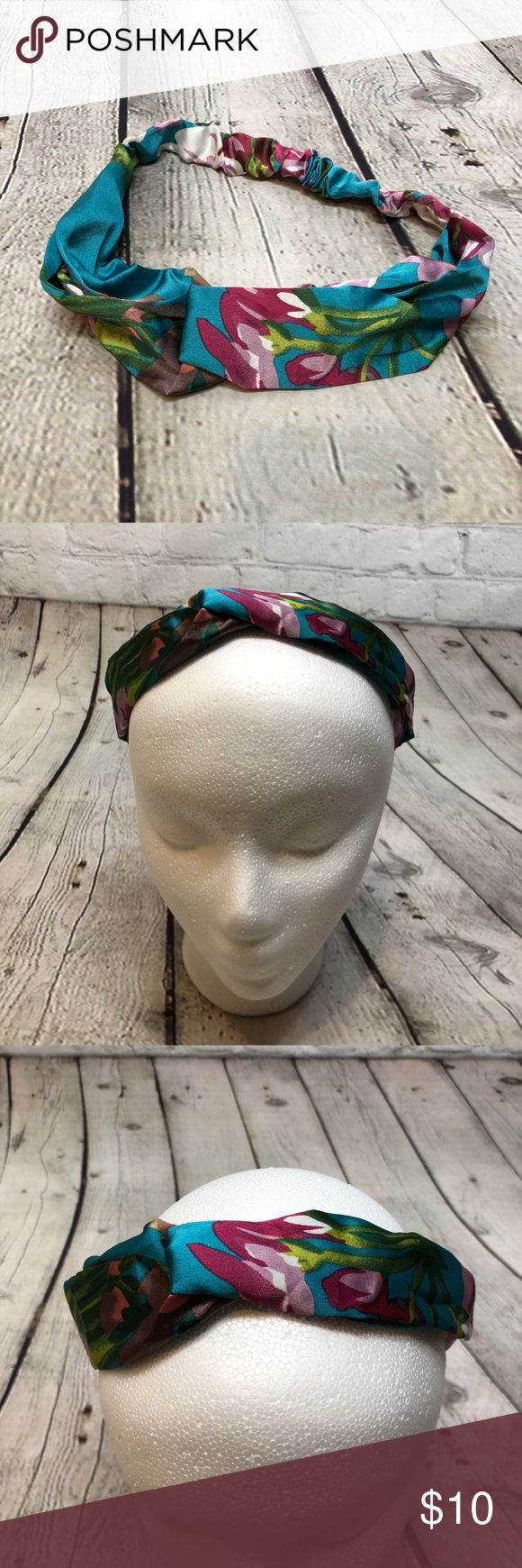 Knotted Boho Headband Teal Floral This knotted headband is super cute. It has elastic inside the fabric and it's stretchy and comfortable. The cross...
