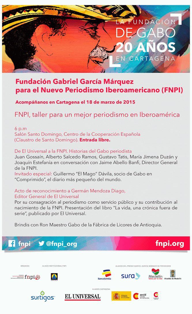 La Fundación de Gabo cumple 20 años en Cartagena. Acompáñanos el 18 de marzo a las 6:00 p.m en el Centro De Formación De La Cooperación Española, Cartagena De Índias.