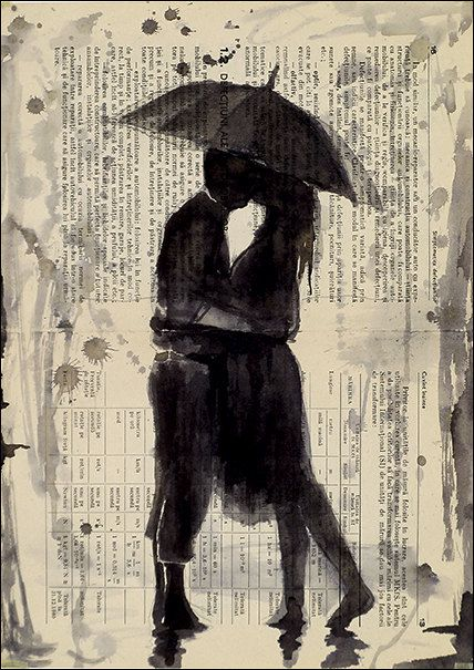 Ink Drawing on Book Pages Kissing in the rain - By Mirel E.Ologeanu Digital file. $6.91, via Etsy.