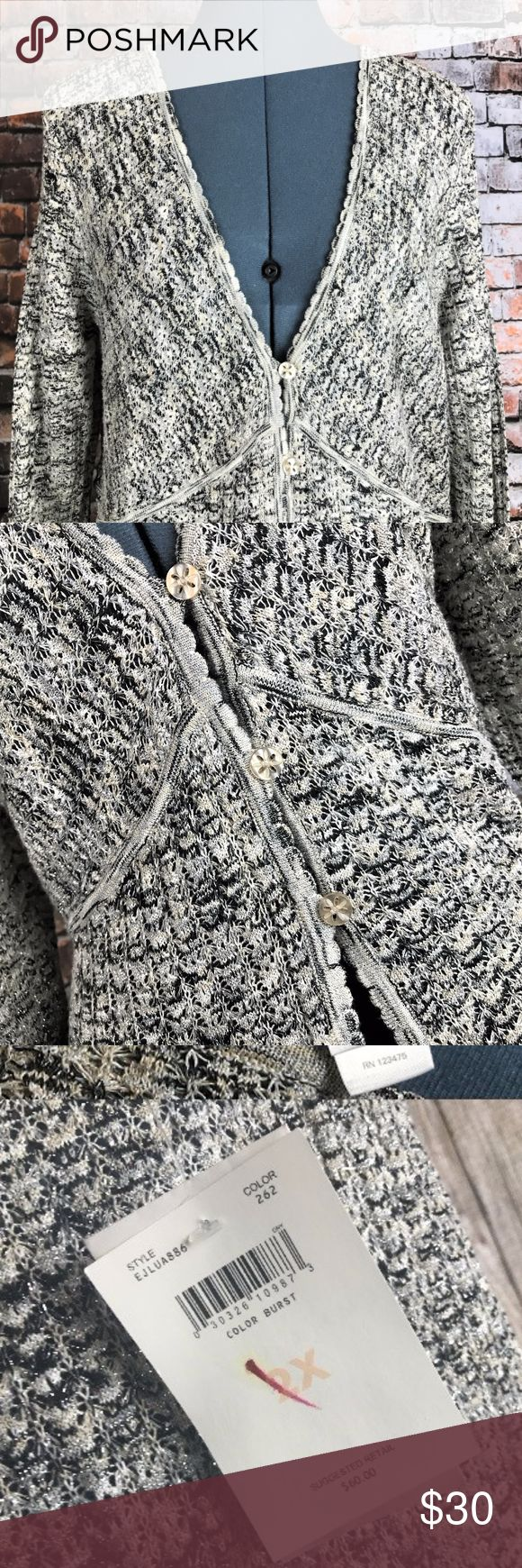 Emma James 2X Sunburst Cardigan Sweater Jacket Emma James 2X Sunburst Cardigan Jacket Silver Metallic White Black Gold, new with tag. Emma James Womens 2X Sunburst Sweater Cardigan Jacket Silver Metallic White Black Gold new with tag.  It is somewhat see-through, extremely lightweight cardigan, button with 3 eyelet buttons on the front.  It did not photograph well, but there is silver metallic threading, gold, white/gray, and black strands.    Measurements:  Chest:  22 inches (armpit to…