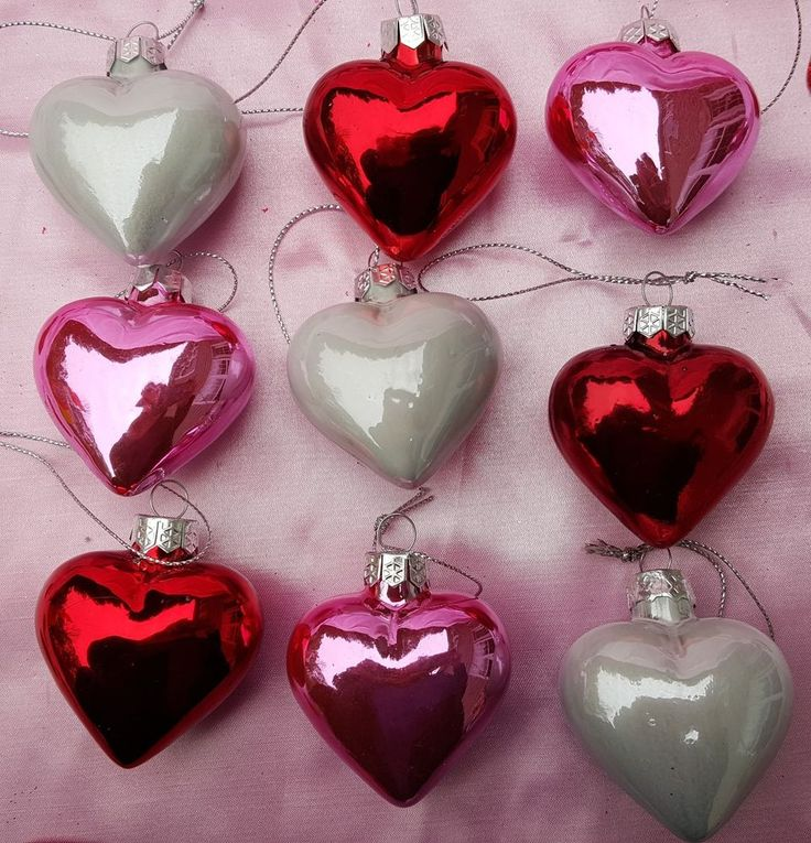 Schön NEW SET Of 9 RED PINK WHITE VALENTINE HEART GLASS BLOWN ORNAMENTS FEATHER  TREE