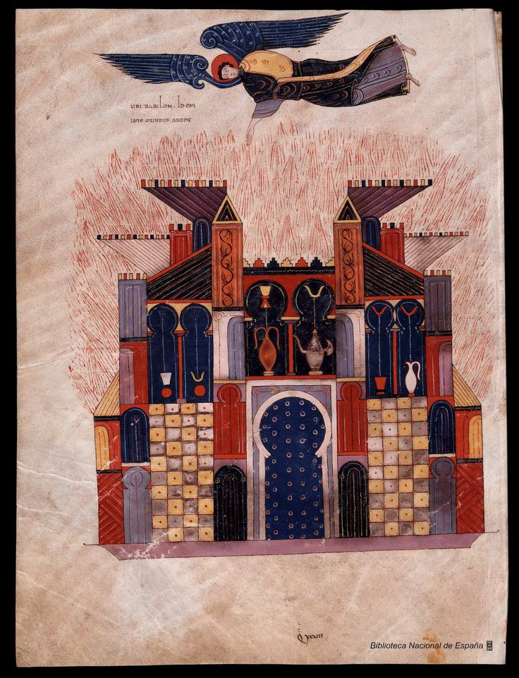 Jugement de Babylone réduite à un brasier. Apoc. XVIII, Beatus de Ferdinand Ier et doña Sancha, by Facundus, 1047, Biblioteca Nacional de Madrid, vitrina 14-2