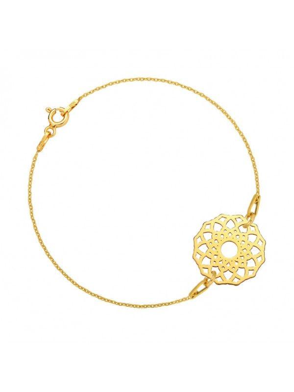 Złota bransoletka łańcuszkowa z ażurową rozetą MARKI LAONI
