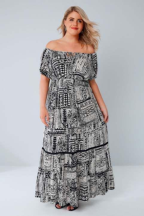 Длинные платья и сарафаны для полных девушек и женщин английского бренда Yours, лето 2017