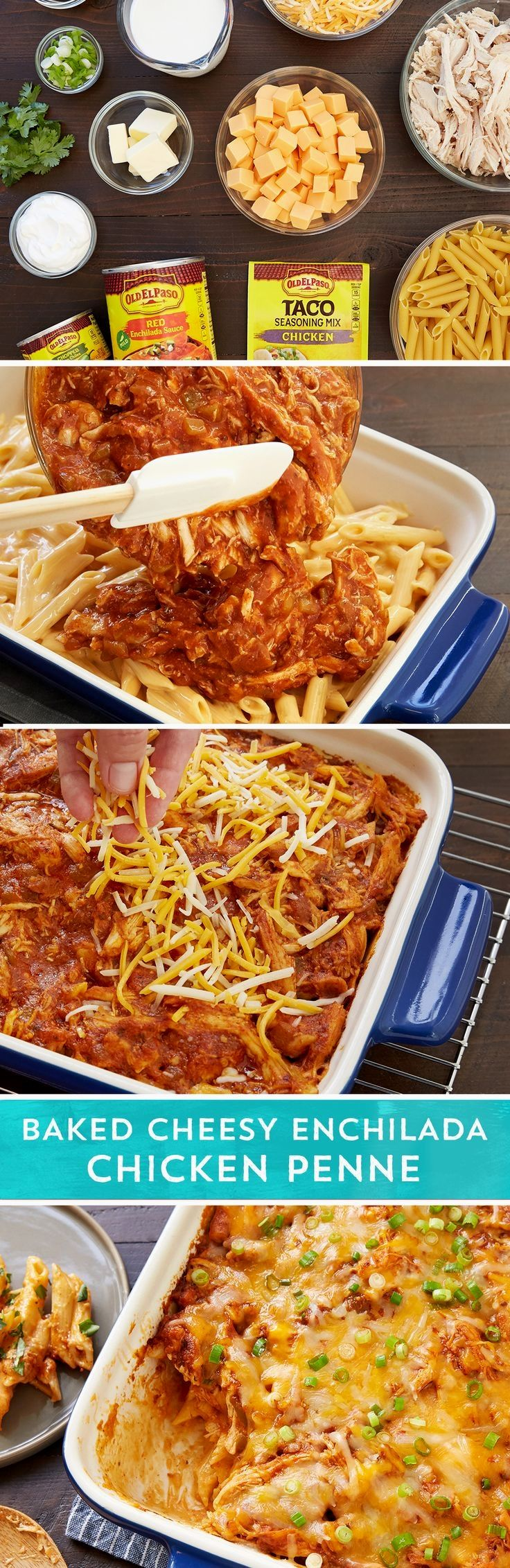 Want enchilada flavor with the family-friendly ease of a pasta bake? Look no further! This cheesy chicken dinner fits the bill. Cooked pasta and easy microwave cheese sauce gets topped with a delicious mixture of chicken, Old El Paso™ enchilada sauce, Old El Paso ™green chiles, butter, and Old El Paso™ chicken taco seasoning. Bake it all for 28-32 minutes while you enjoy a little pre-dinner family time. Dish it up and watch the whole crew enjoy. Leftovers make a great school lunch the ..
