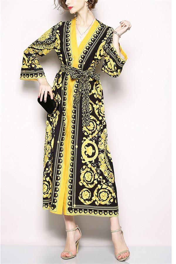 e6edea1aa3 Retro V-Collar Court Print Leopard Lace Loose Dress in 2019