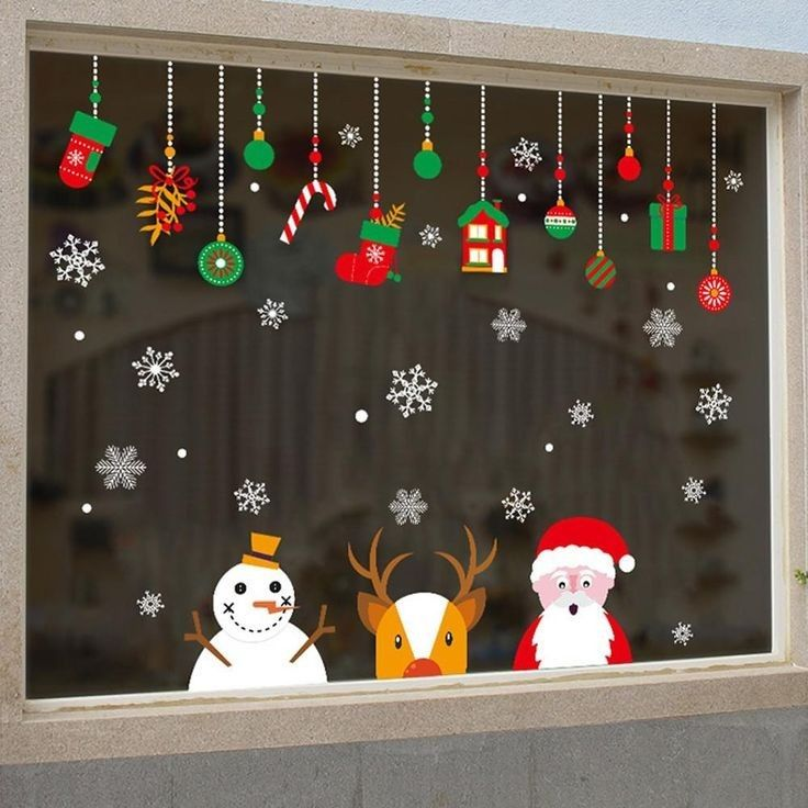 Window Stickers for Christmas Decorations,BS Adhesive Wall Window Clings Decals Christmas Tree Wall Window Door Stickers for Home Office Shop Window Glass Door Holiday Decorations Style B, 4 Sheets