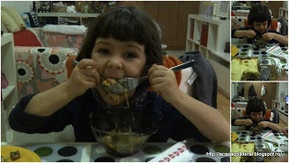 by Acasa Colt de Rai- Look at how this kid eats the casserole she cooked- Recipe: beef, zucchini, potato, mushroom casserole