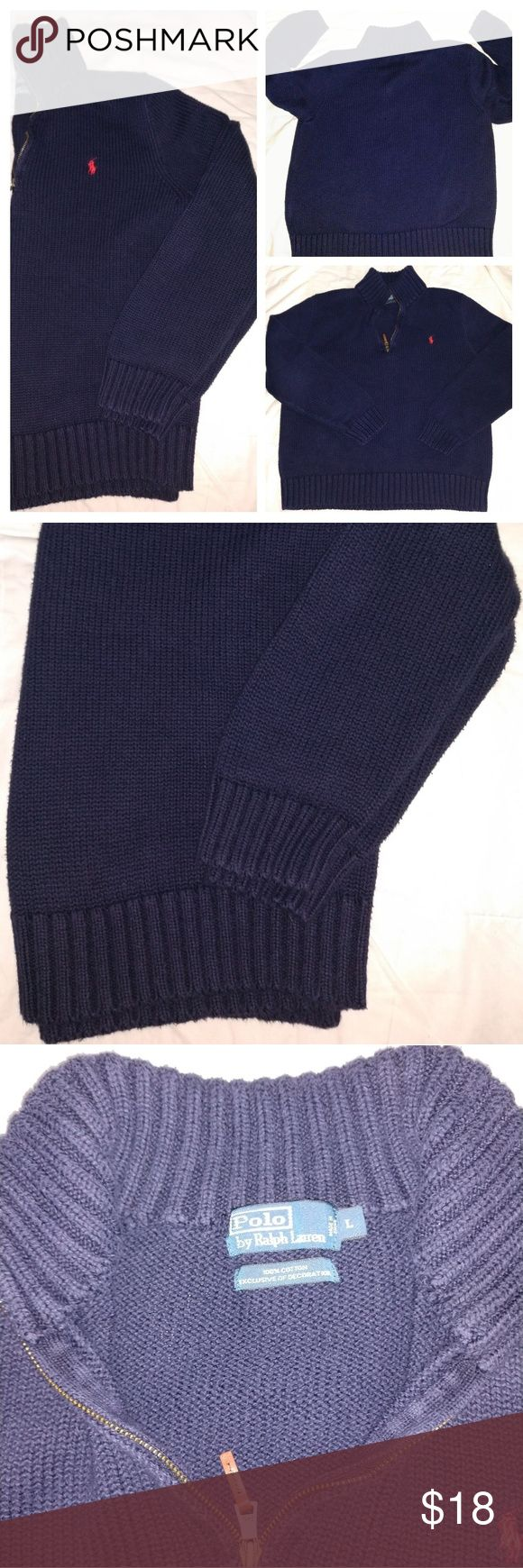 Polo Pullover Sweater Navy blue men's Cotton pullover sweater by Ralph Lauren Polo by Ralph Lauren Sweaters Zip Up