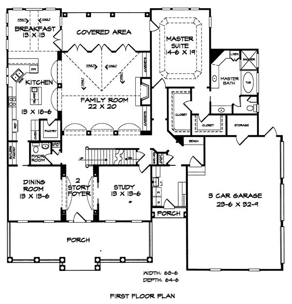 First floor plan of southern house plan 58030 house for Floorplan com