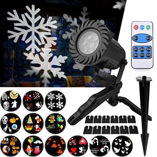 Projecteur LED Extérieur et Intérieur Fochea IP65 Projecteur d'Images avec 12 Motifs&Télécommande RF Décor Jardin Chambre pour…