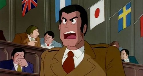 """Inspector Zenigata accuses the Count of counterfeiting in front of the Interpol delegates - """"The Castle of Cagliostro"""" (1979)"""