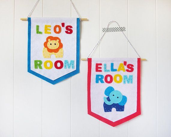 Kids Bedroom // Nursery Baby Gift Personalised Hanging Flag Decoration
