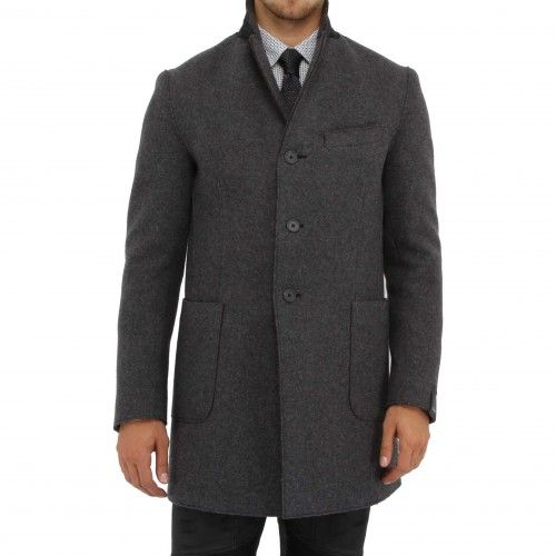 Z Zegna Overcoat. Simple and classic, this soft grey overcoat features peaked lapels with a contrasting dark grey underlay, welt chest pocket, patch side pockets, and three-button closure.