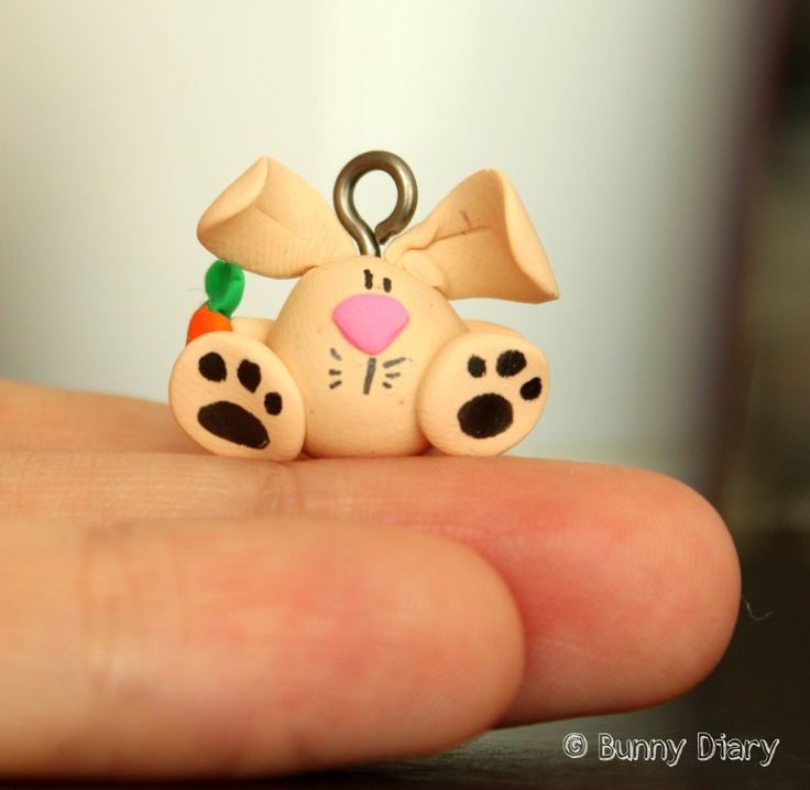 Tiny Bunny with a carrot charm clay figurine by BunnyDiary on Etsy, $18.00
