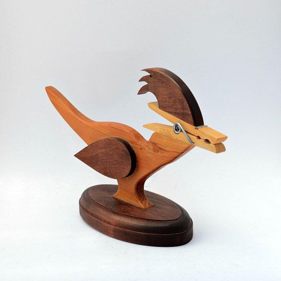 Wooden roadrunner note holder bird vintage by AGardenCottage, $11.95