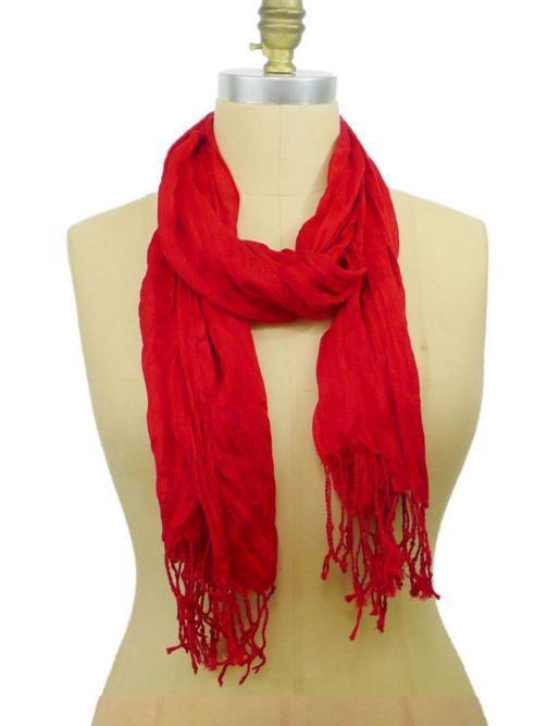 Red Soft Twist Scarf