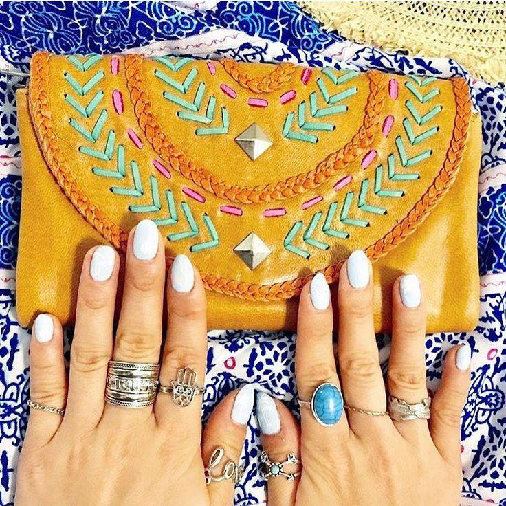 Colourful boho vibes in our handmade Ellki Wallet in tan leather.  #leatherbag #handmade #bohemianbag #bohobag #leatherwallets