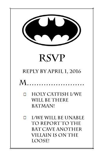 DIY Batman Wedding Invitation by SayYesToTheCard on Etsy...lol so funny probably would not do this but this is HILARIOUS