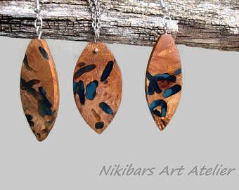 Hout hars sieraden Set, exotische Burl hout ketting oorbellen Set, houten ketting, abstracte Set, kunst hanger, modernistische sieraden Set
