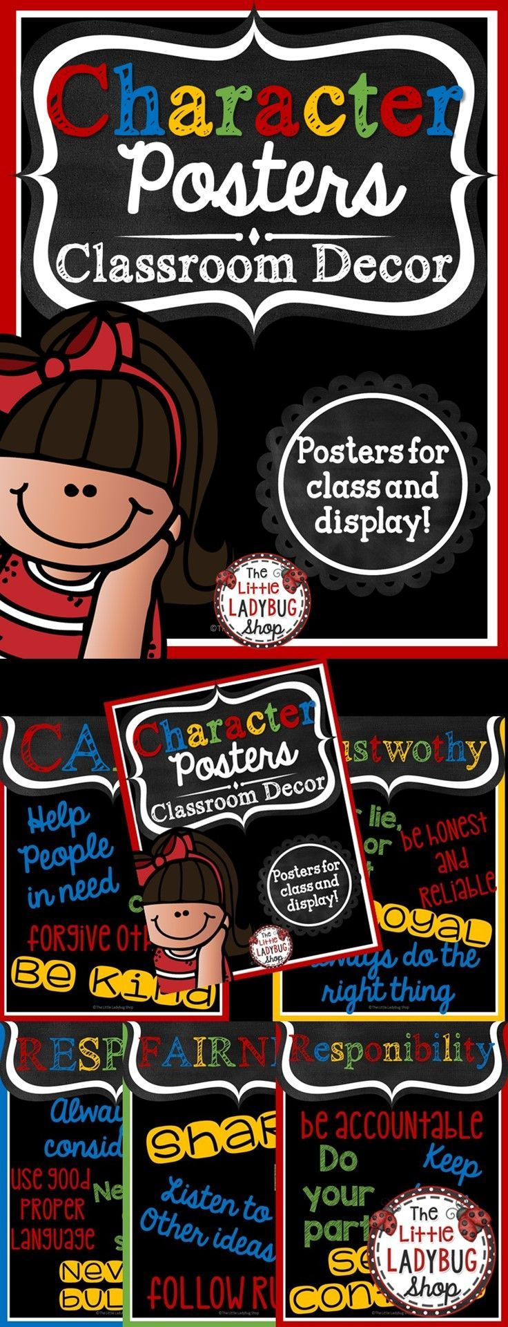 Class Decor: Character Posters {Colorful Chalkboard Theme} | Character Choices | Class Decor   Character Education Posters can be so inspiring to students! Hang these beautiful BRIGHT Colorful & Chalkboard Posters in your room! They are classy and simple that they compliment MANY classroom themes