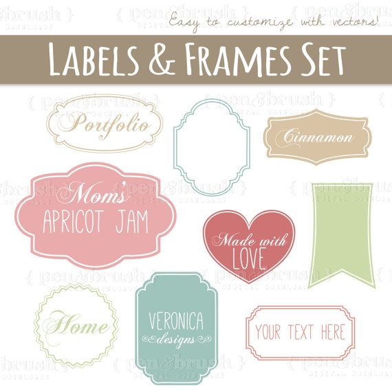 Cute Vector Labels & Frames // Photoshop Brush Stamps // Printable EPS Editable // Scrapbook Frames // Pink Green Tan // Commercial Use //