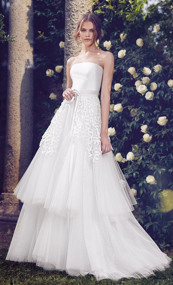 Uniquely glamorous strapless layered tulle skirt wedding dress; Featured Dress: Giuseppe Papini