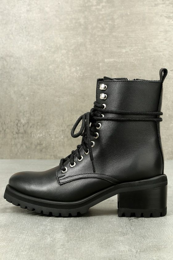 6b68b80f2be Steve Madden GENEVA BLACK LEATHER LACE-UP COMBAT BOOTS