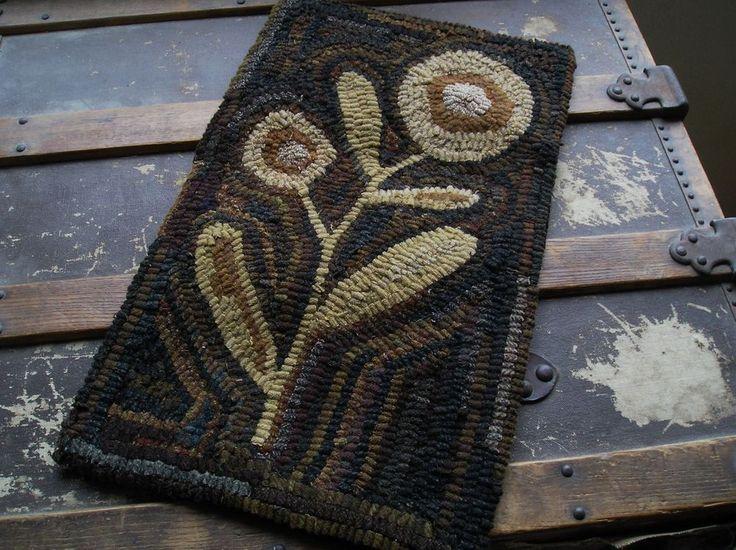HAND  MADE PRIMITIVE HOOKED RUG ~ SPRING POSEY ~  FOLK ART ~  #Primitive #SUSANKILDUFF