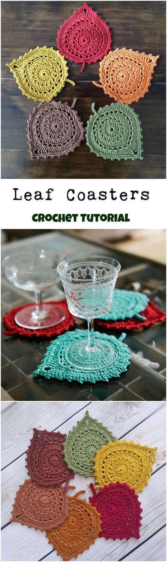 crochet leaf coasters