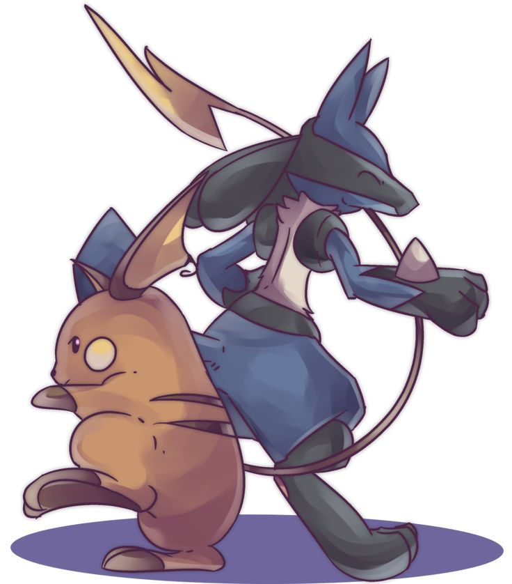 Lucario and Raichu Commission by AutobotTesla