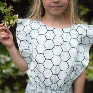 Sukienka ruffle /bee hive/ blue