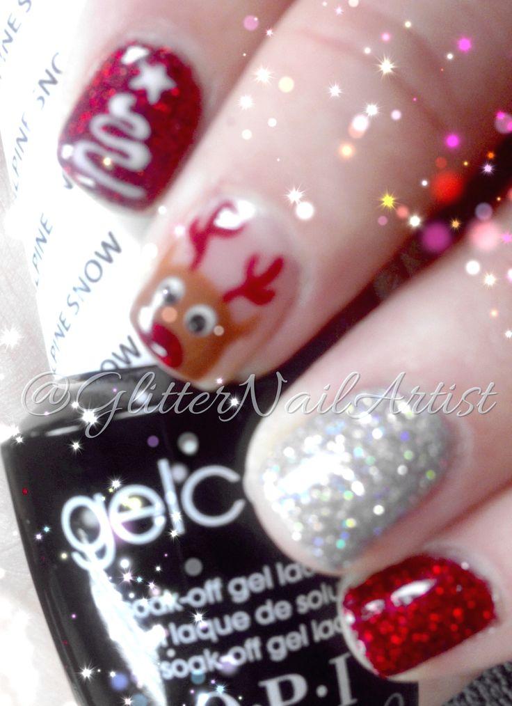 Reindeer christmas, Painted nail art and Reindeer on Pinterest