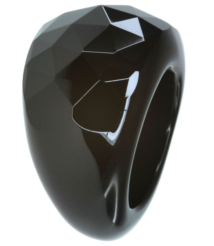Black Agate Solid Gemstone Checkerboard Surface Ring size R