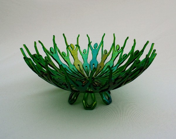 Fused And Slumped Iridized Green Glass Bowl