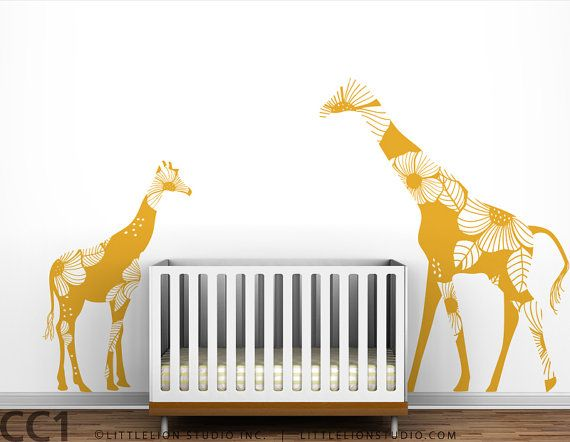 Giraffes to keep an eye on things: Baby Floral, Giraffes Wall, Mom Baby, Floral Giraffes, Kids Wall, Wall Decals, Wall Stickers, Baby Rooms, Kids Rooms
