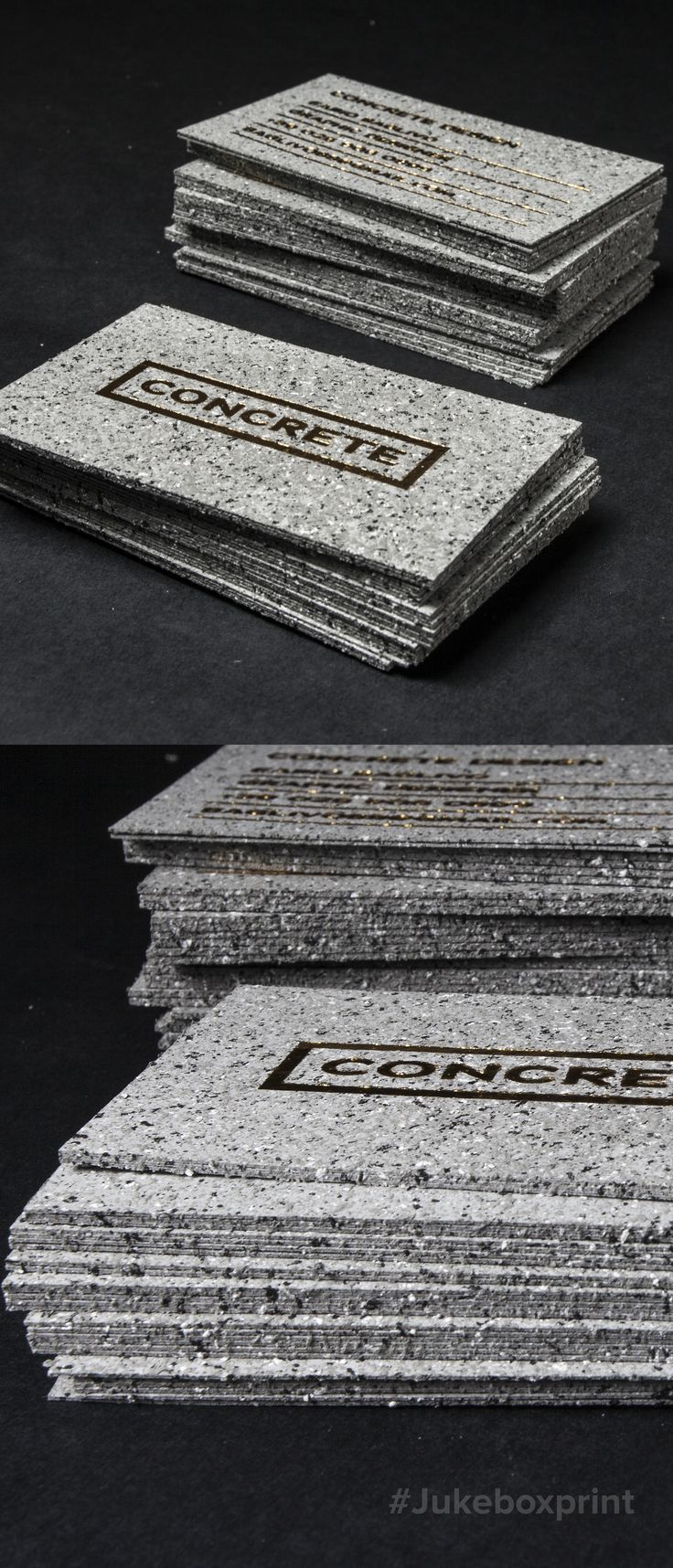 Make an Impact with these Stone Textured business cards. Produced with Gold Foil on 36pt by Jukebox Print.