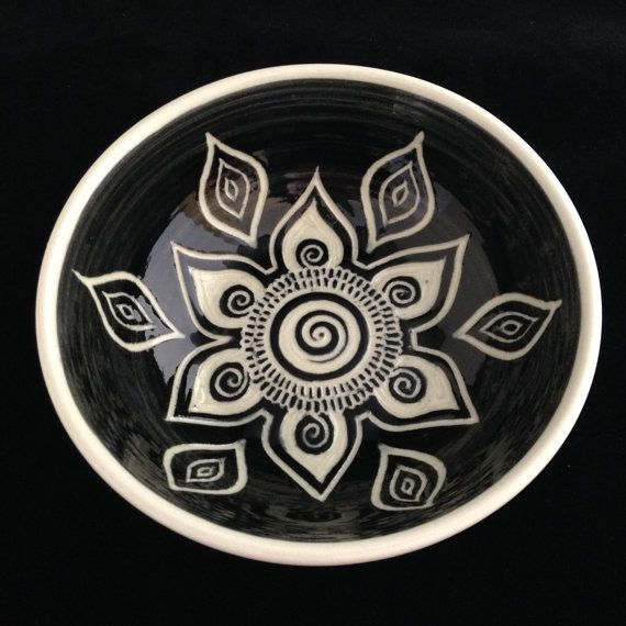 Sgraffito Carved Mandala Bowl by Paula Focazio Art & Design