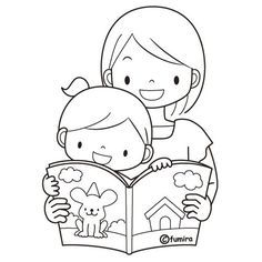 Coloring Pages: Mom reading to her child, free coloring pages