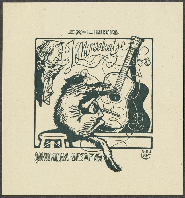 """""""Caricature of Liszt as hand-puppet watches screeching cat claw strings of a guitar"""", Design by L. Brunet from The Bookplate Collection: Second Half - 50 Watts"""