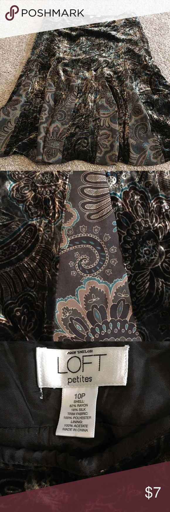 Velour skirt Cute loft flowey skirt. Paisley print in teals and browns. Excellent Condition LOFT Skirts Midi