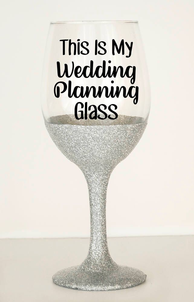 My Wedding Planning - Glitter Stem Wine Glass - Glitter Dipped - Engagement Presents For Her - Unique Engagement Gift Ideas - Wine Glasses by ShopChaosCollective on Etsy https://www.etsy.com/listing/273919914/my-wedding-planning-glitter-stem-wine