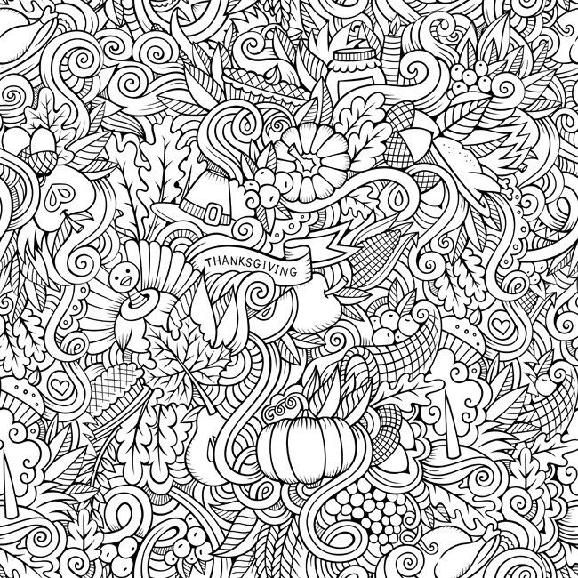 thanksgiving doodle coloring canvas color your canvas relieve stress while creating art for your walls with