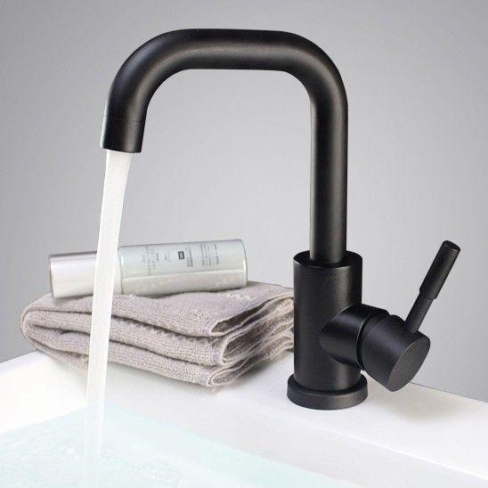 Matte Black Single Lever Single Hole Bathroom Sink Faucet Stainless Steel – Bathroom Sink Faucets – Bath & Faucets