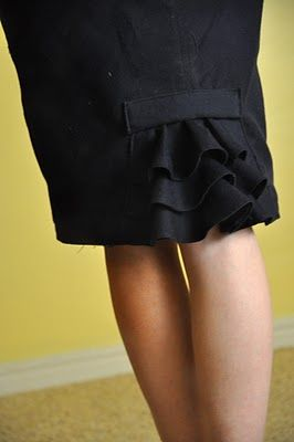 adding a ruffle to pencil skirt