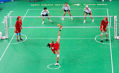 A full view of the takraw coart.
