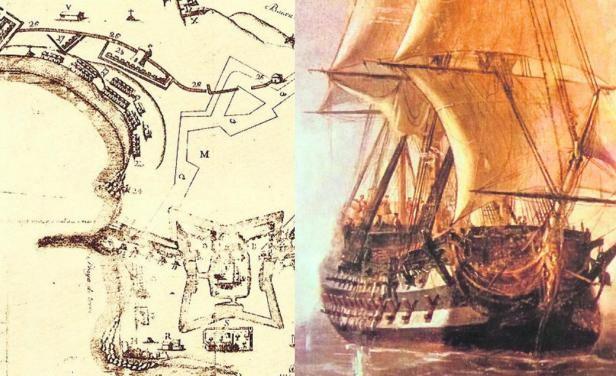 Colonia había sido tomada por los españoles dos meses antes y ya no pertenecía a sus aliados portugueses. Al mediodía del 6 de enero de 1763, a unos 400 metros de distancia de la costa de Colonia, los 32 cañones de babor del Lord Clive se disponían a recuperar la ciudad.- rescate de un navío de guerra inglés de 1763 |