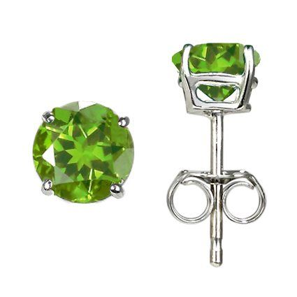 SOLD OUT #1314 PERIDOT STERLING SILVER PLATINUM EARRINGS